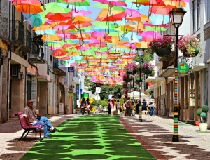 colorfulfloatingumbrellasportugal