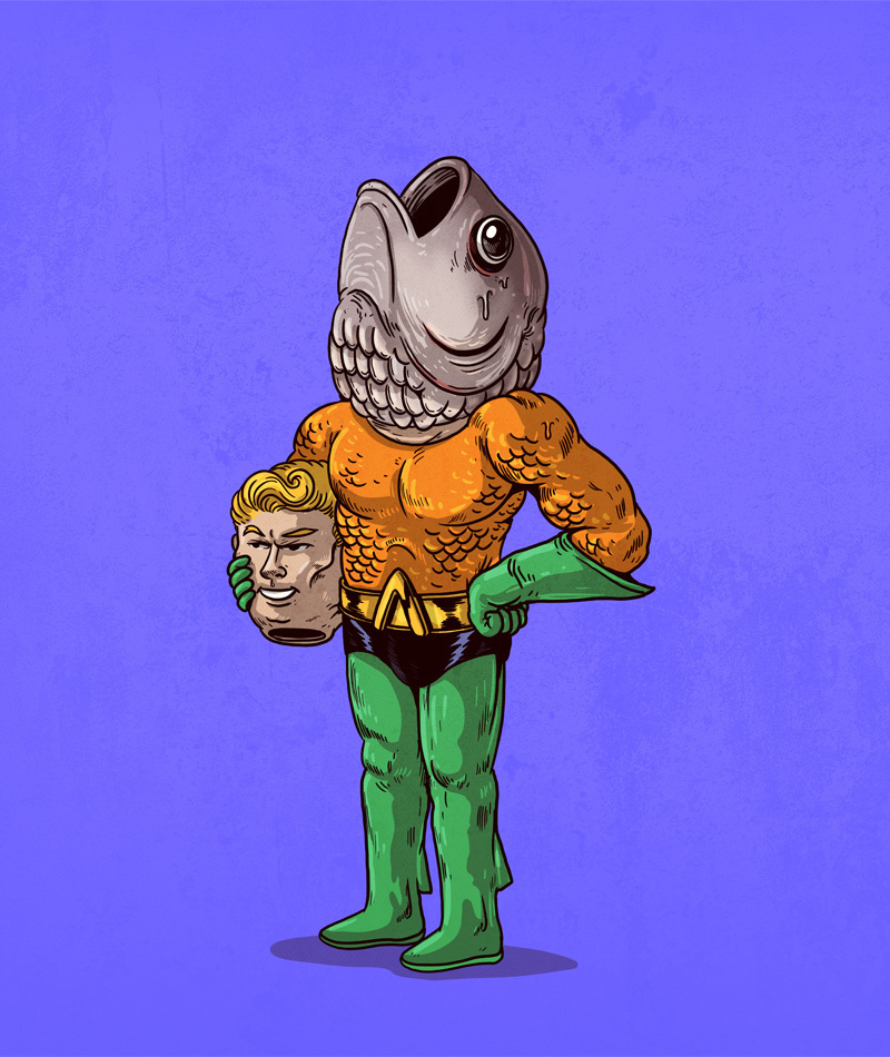 aquaman_- Illustrator Alex Solis Unmasks the True Identities of Famous Cartoon Characters