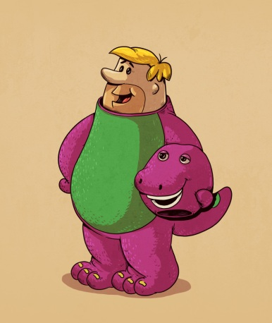 barney - Illustrator Alex Solis Unmasks the True Identities of Famous Cartoon Characters