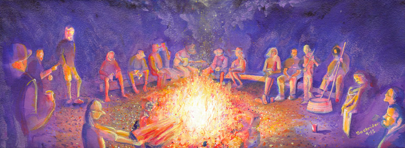 RootsRetreatCampfire Tour Paintings by David Sockrider