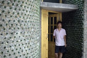Man-builds-his-house-out-of-beer-bottles